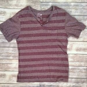 On the Byas striped maroon cotton Henley size SM